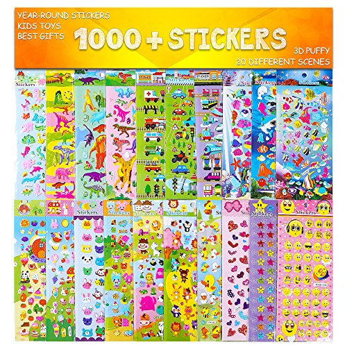 Stickers 1000 + and 20 Different Scenes , 3D Puffy Stickers, Year-Round Sticker Bulk Pack for Teachers,Students, Toddlers,Scrapbooking, Girl Boy Birthday Present Gift,Christmas Festival Supplier. -