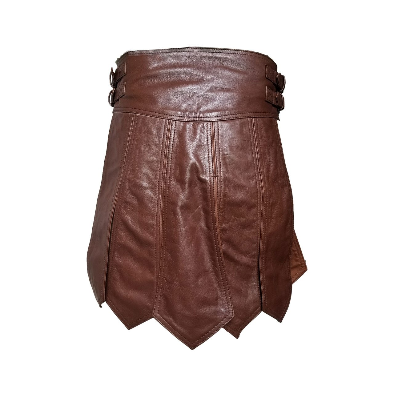 Brown Mens Real Pure Leather Gladiator Kilt Gay Clubwear LARP