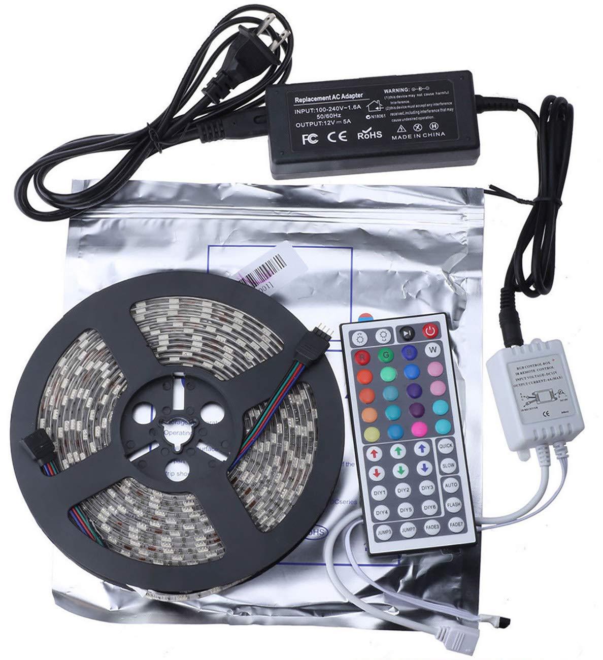 INIEIWO 2pcs 5M 16.4ft 5050 RGB SMD Led Strip Lights Kit 300LED Waterproof IP65+44Key Remote+power supply
