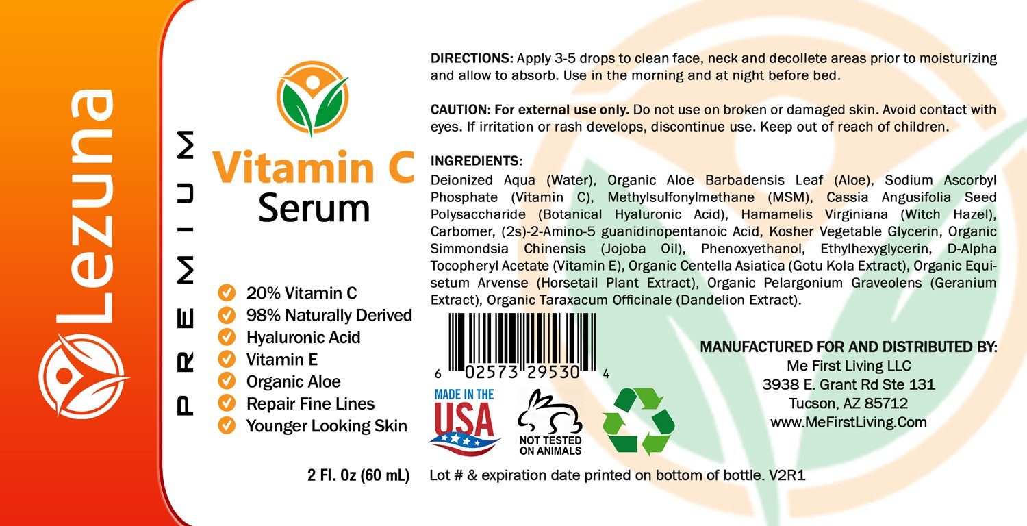 Vitamin C Serum With Hyaluronic Acid,Larger 2 Oz Size, Organic Aloe, Jojoba Oil, Vitamin E, Reduce Fine Lines, Anti-Aging, Hydrates & Tones, Dark Spot Correction, Smoother Younger Looking Skin by Lezuna (Image #3)