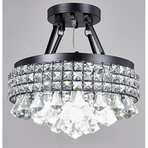 Vintage Round Fluorescent Light Fixture: Semi Flush Chandelier: Amazon.com