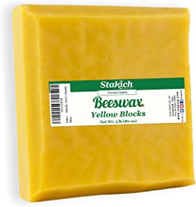 Stakich Yellow Beeswax Block - Natural, Triple Filtered - 5 Pounds