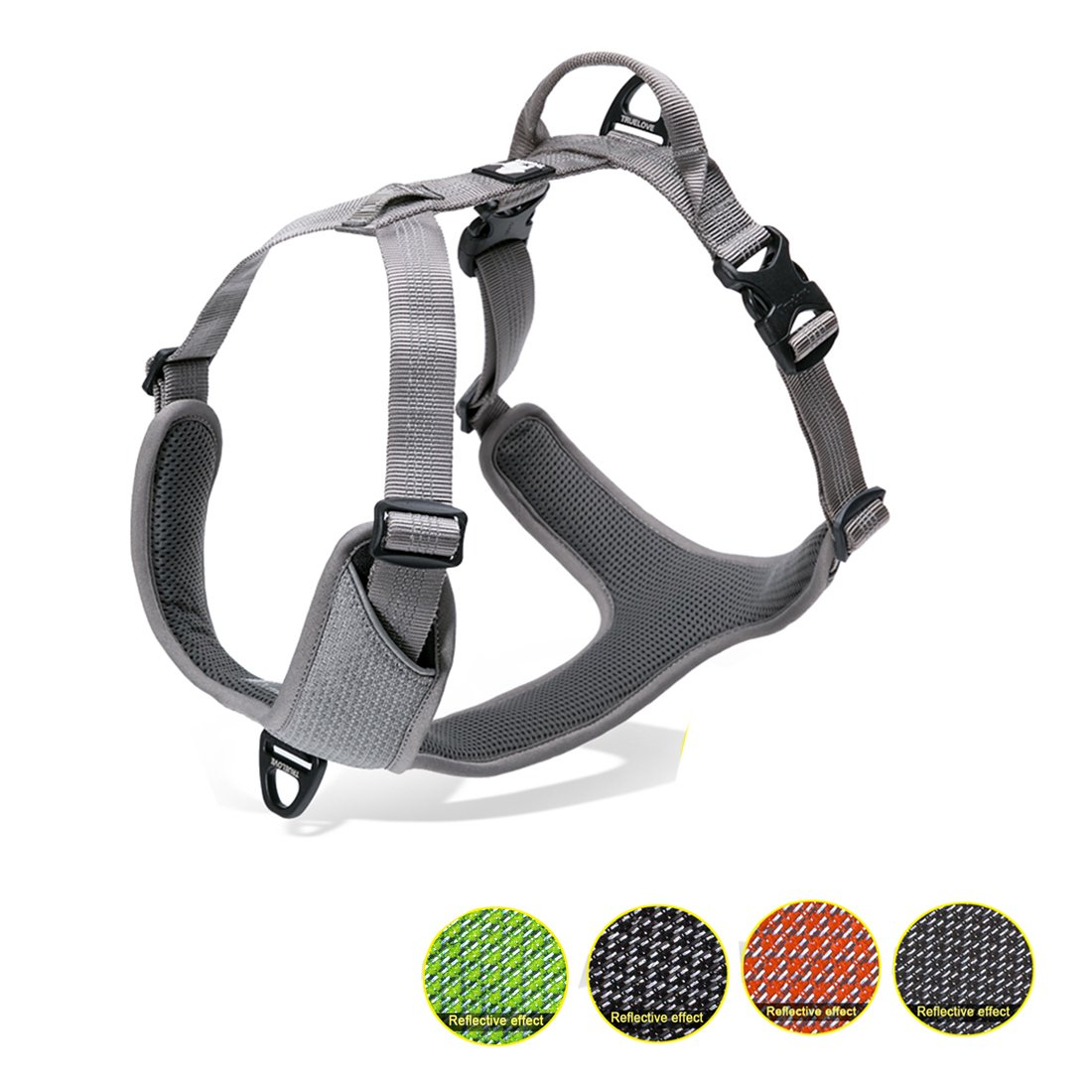 Kaka mall Dogs Vest Harness Front and Back Leading No Pull Padded 3M Reflective for Large Dogs for Outdoor Travel Walking Camping (Grey, XL)