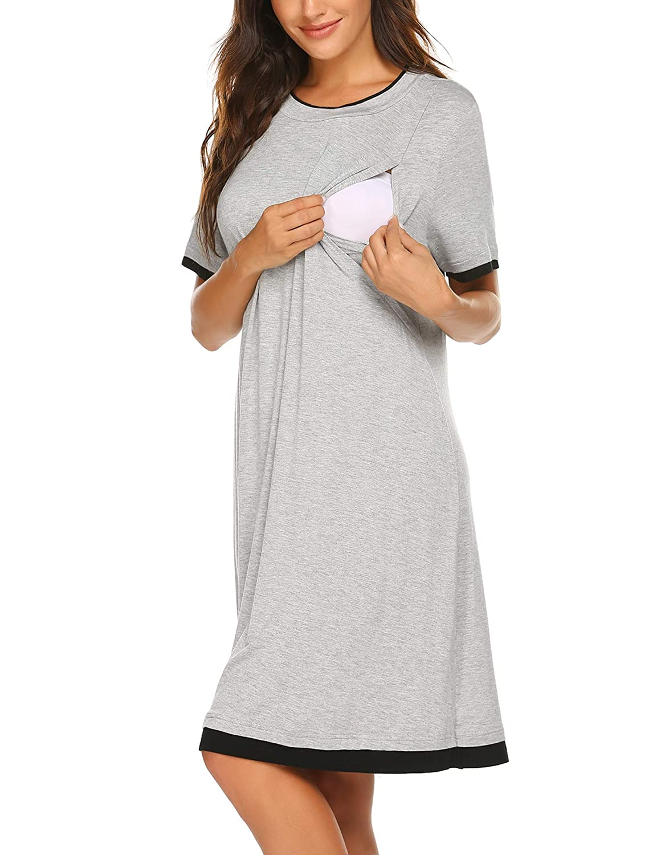 luxilooks Women/'s Short Sleeve Nursing Sleepwear Hospital Nightdress Maternity Nightgown S-XXL