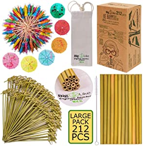 Drink Umbrellas with Bamboo Straws and Picks - 212 pcs Set for Drinks and Appetizers. BPA Free, Organic.100 Cocktail Umbrellas Parasol, 12 Reusable Bamboo Straws 8 inch, 100 Bamboo Knot Skewers 6 inch