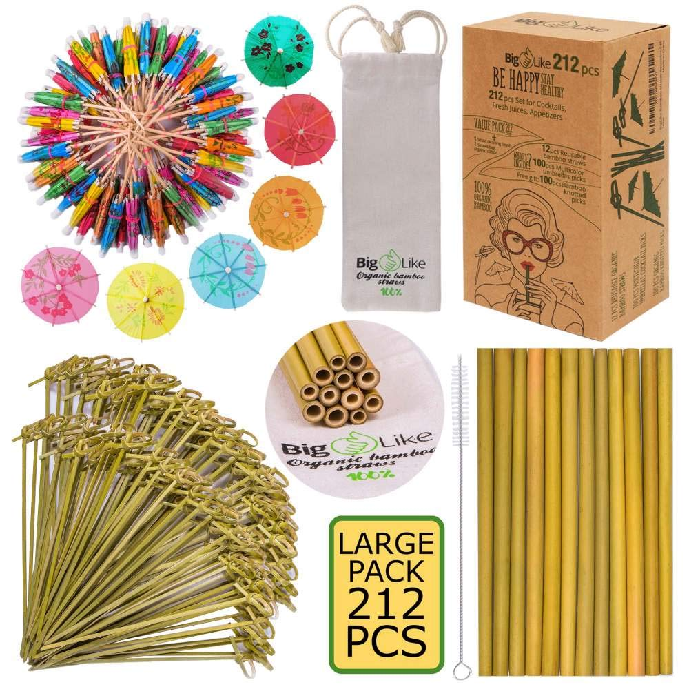 Bamboo Straws and Picks with Drink Umbrellas - BPA Free, Organic Set of 212 pcs for Drinks and Appetizers. 12 Reusable Organic Straws 8 inch, 100 Cocktail Picks Parasol, 100 Bamboo Knot Skewers 6 inch by BigLike (Image #1)