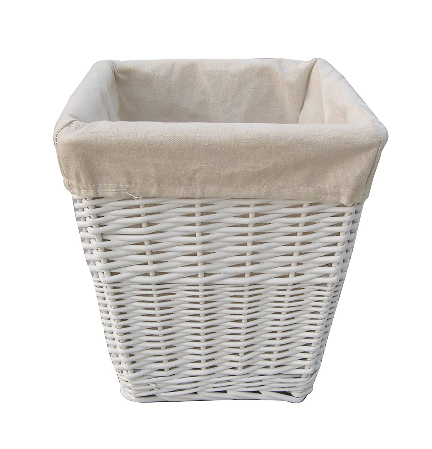 Homescapes Lined White Square Willow Wicker Waste Paper Basket A Perfect Office Bathroom or Bedroom Bin, H 28cm x W 26cm x 18cm Square Base