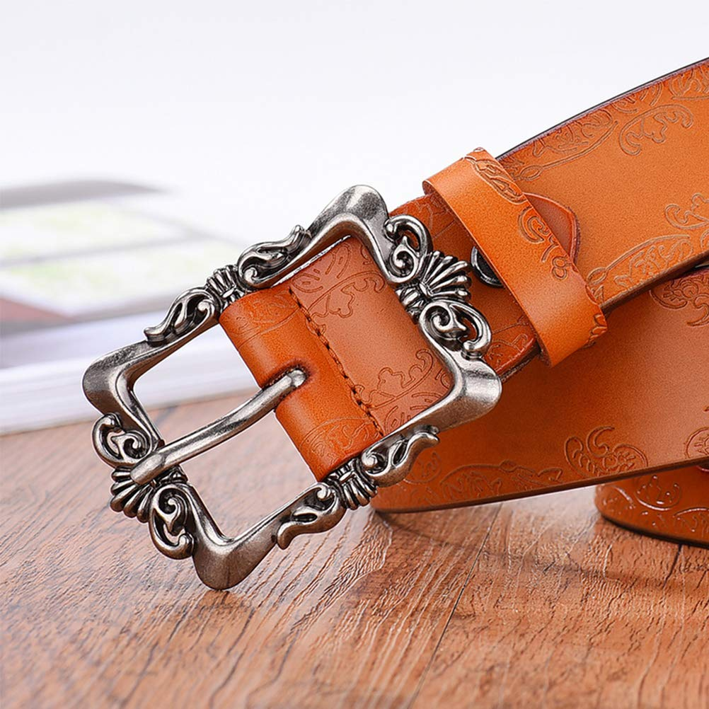 NEAER Women Vintage Embossed Leather Belt Alloy Buckle Belt for Dress Ladies Narrow Jeans Belt