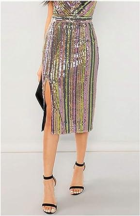 Availcx-Sexy Long Skirt Bordado de Lentejuelas de Las Mujeres ...