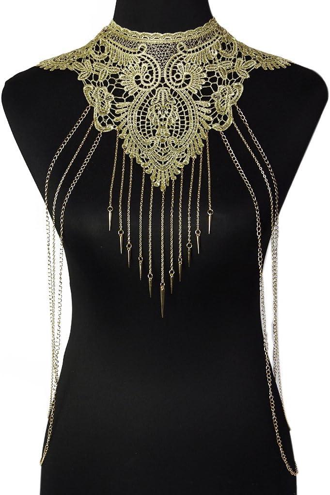 Elegante cuello de encaje con cadenas Bobury por 5,79€