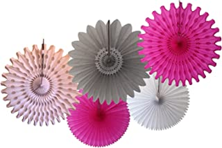 product image for Devra Party 5-Piece Tissue Paper Fans, Cerise Gray White