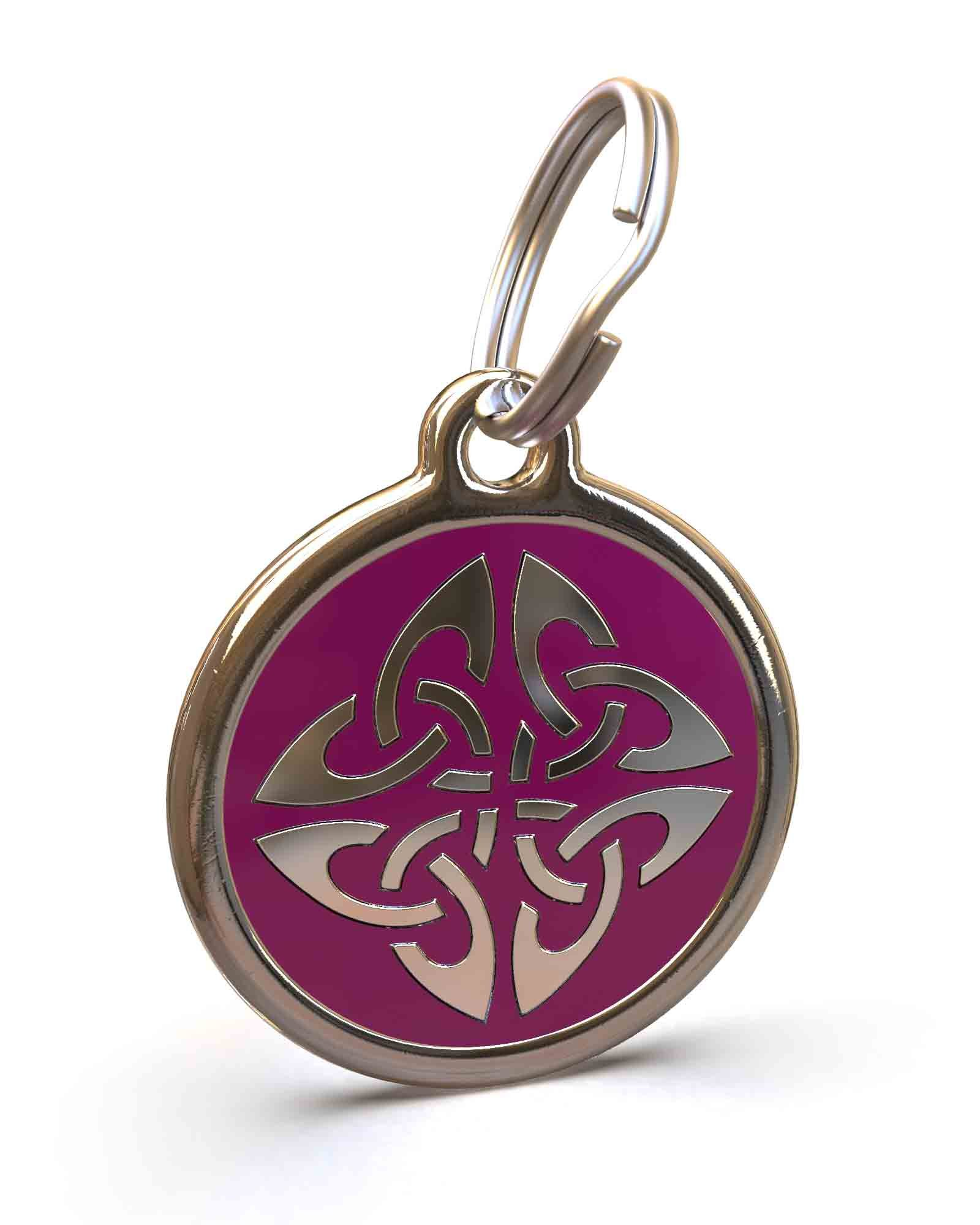 UNLEASHED.DOG Customizable Engraved Dog ID Tag - Stainless Steel with Triquetra Enamel Inlay - Purple | Medium