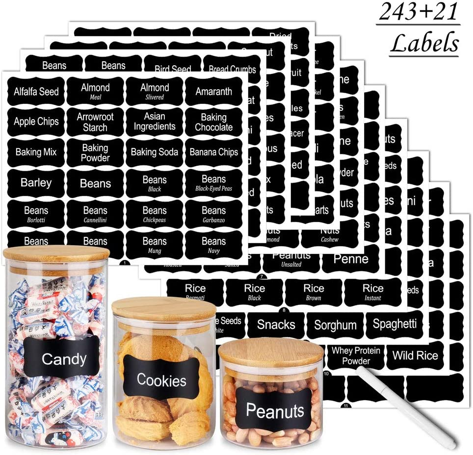 SWOMMOLY 264 Pantry Labels Set, 243 preprinted and 21 blank labels with a chalk marker pen. Water Resistant Food Pantry Label Sticker, Complete Jar Container Decals for Pantry Organization Storage
