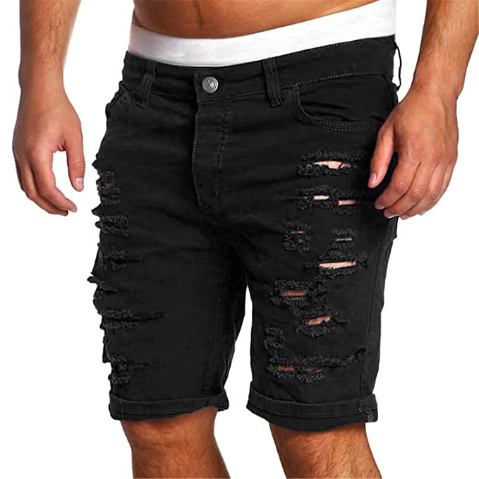 Amazon.com: frozac Ripped agujero Denim pantalones cortos ...