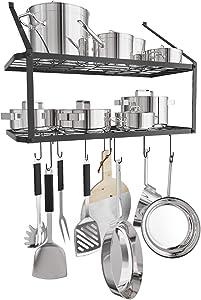 X Home Pot Rack, 29.3 Inch Pan Rack, 2 Tier Wall Mounted Pot Hanging Rack, Hammered Steel Pot Organizer with 10 Hooks for Cookware Utensils, Rustproof