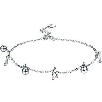 J.SHINE Anklet bracelet silver women girl-cheerful Ball and Music Notes-adjustable-for shorts dress bikini-gift box 2EYvX