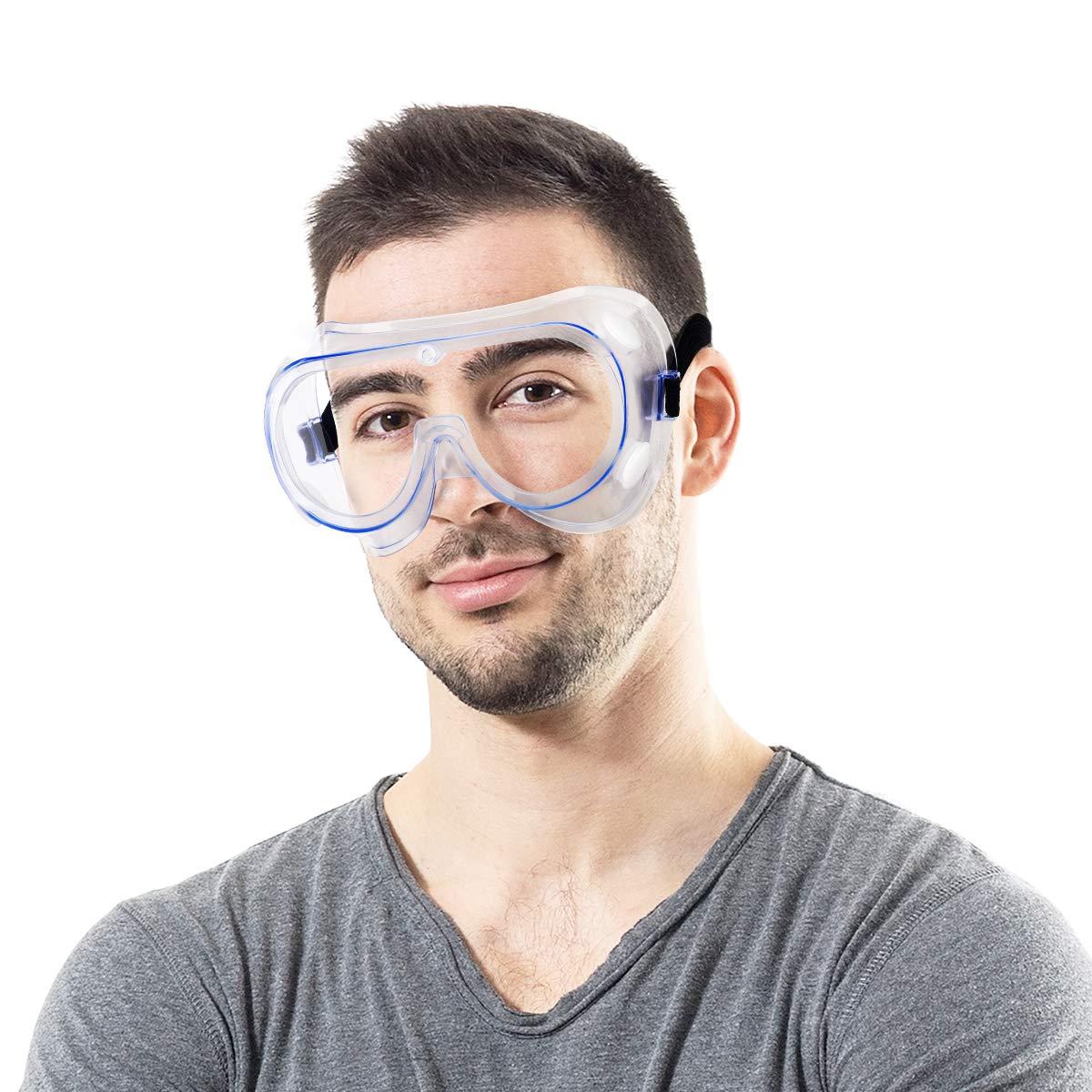Gafas protectoras de seguridad, gafas de seguridad, protección de ojos ajustable antiarañazos, UV y salpicaduras, gafas ligeras y ligeras para bricolaje, laboratorio y deportes al aire libre