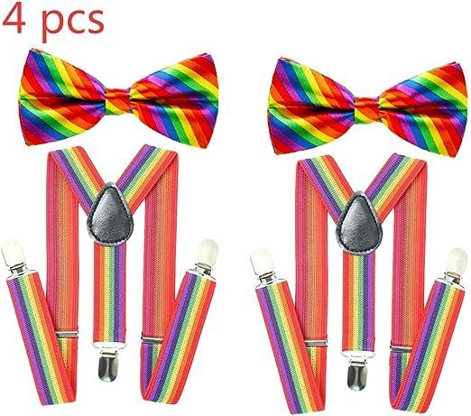 Rainbow Suspenders Bow Tie Set Hombres Suspenders Clip en forma de Y Ajustable Elástico para hombre Tirantes Gay Pride Gay Wedding Party Supply: Amazon.es: Hogar