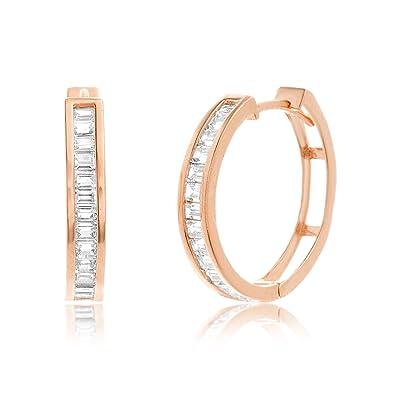 719f66b44 Lesa Michele Baguette Cubic Zirconia Hoop Earrings in Rose Gold over  Sterling Silver
