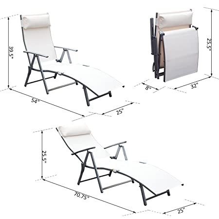 Amazon Com Festnight Steel Outdoor Patio Folding Chaise Lounge