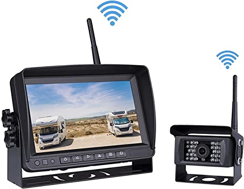 Car Digital Wireless Backup System for Truck RV Camper Vans Trailer, 7 Screen LCD Monitor Wireless Backup Camera Transmission Distance Upto 150m, 2-Split Image, Compatible with 2 Wireless Cameras
