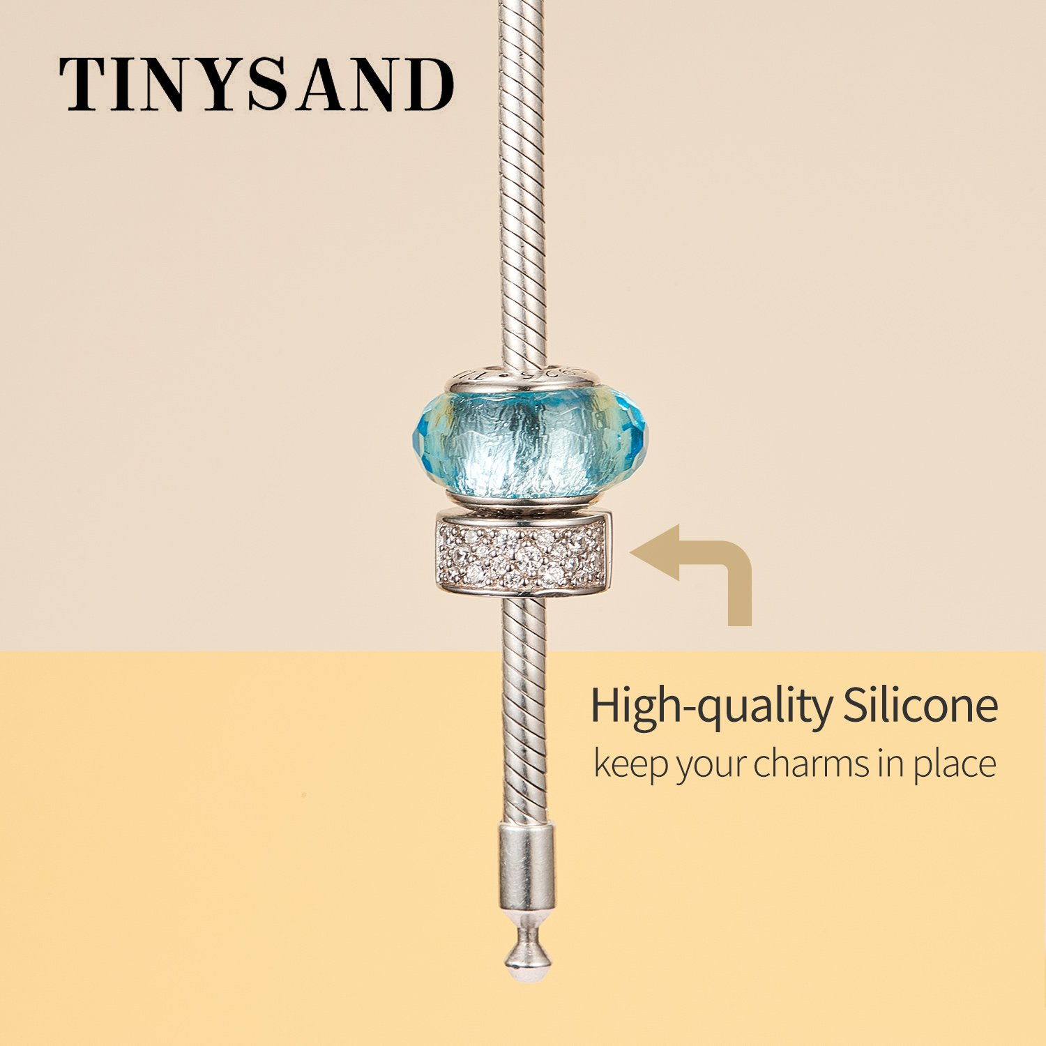 TINYSAND 925 Sterling Silver Dazzling CZ Clip Lock Stopper Spacers Charms Beads Fits European Snake Bracelet Bangle Unique Jewelry for Girls Women by TINYSAND (Image #5)