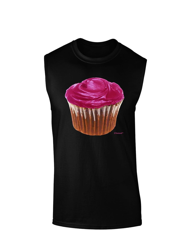 TooLoud Giant Bright Pink Cupcake Dark Muscle Shirt