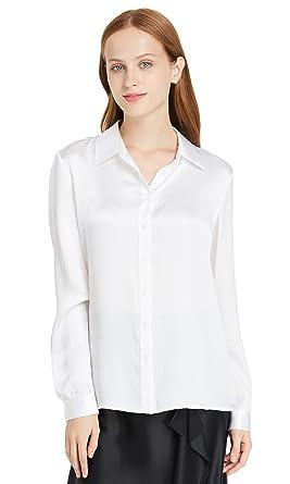 original design intemporel haute couture LILYSILK Chemise Basique Femme 100% Soie Chemisier à Manches Longues  Décontracté Chic 22MM