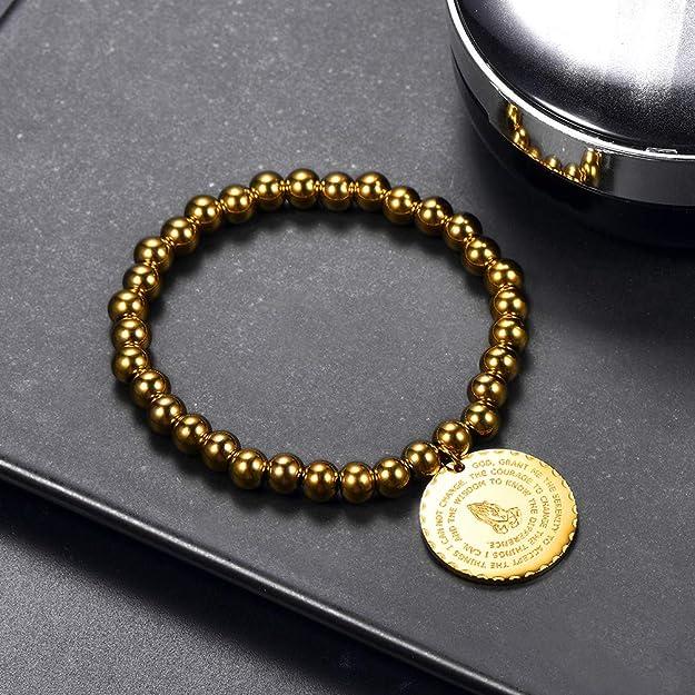 PROSTEEL Bracelet Boule avec M/édaille Ronde Main Pri/é/é Gourmette R/églable 15-20cm Bijoux Acier//Plaqu/é Or//Noir pour Homme Femme Cadeau F/ête No/ël Anniversaire