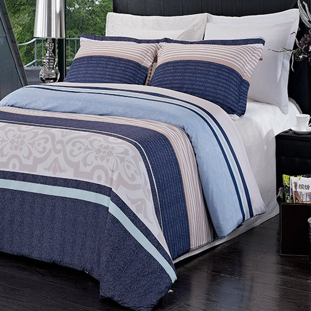3pc Modern Contemporary Navy Blue Mens Boys Bedding Duvet Cover Set Full/Queen