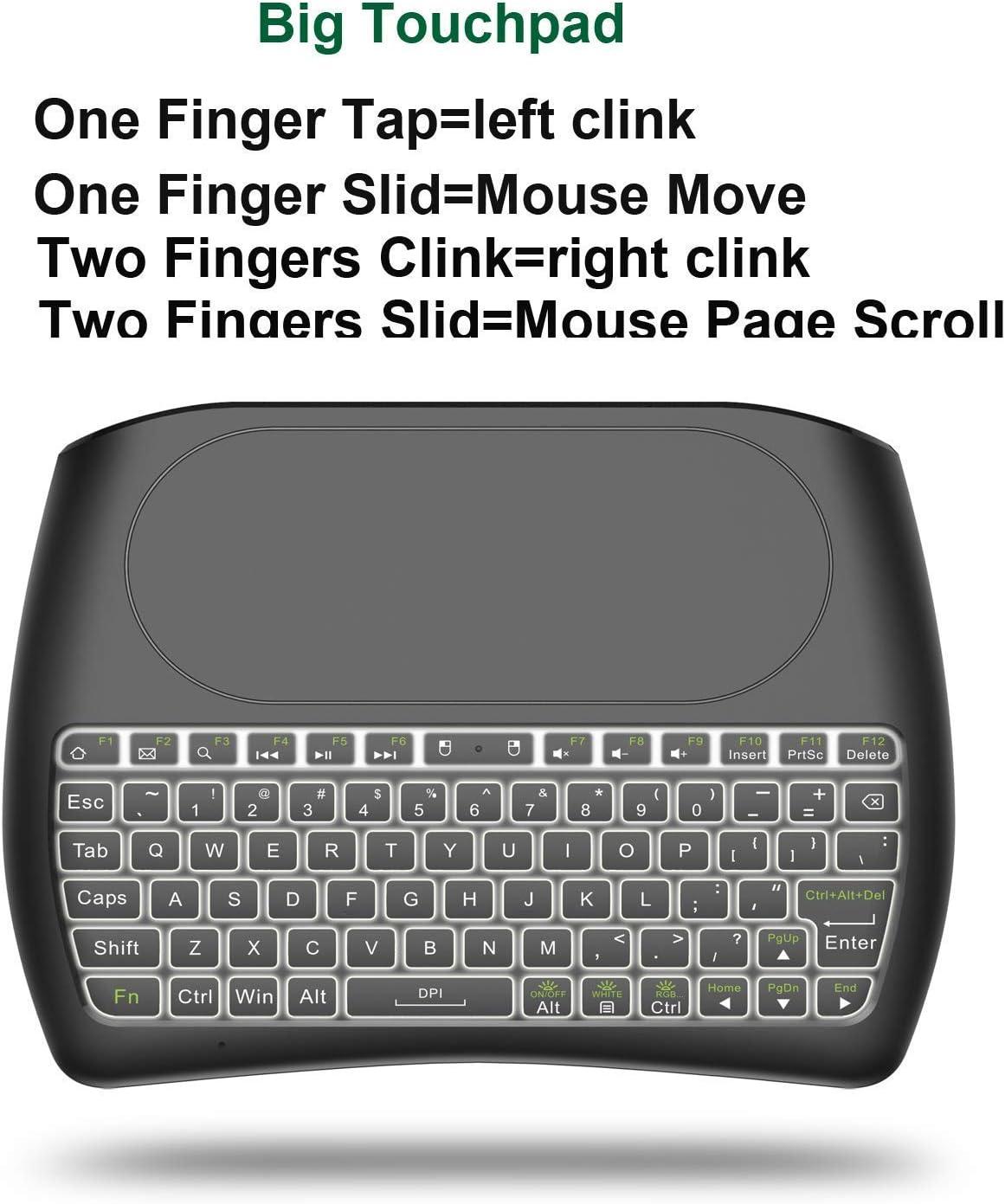 Teclado inalámbrico con Almohadilla táctil, 2.4GHz Mini Teclado Recargable Multimedia portátil de Mano para Android TV Box, HTPC, Smart TV, computadora portátil/PC(RGB retroiluminado): Amazon.es: Electrónica