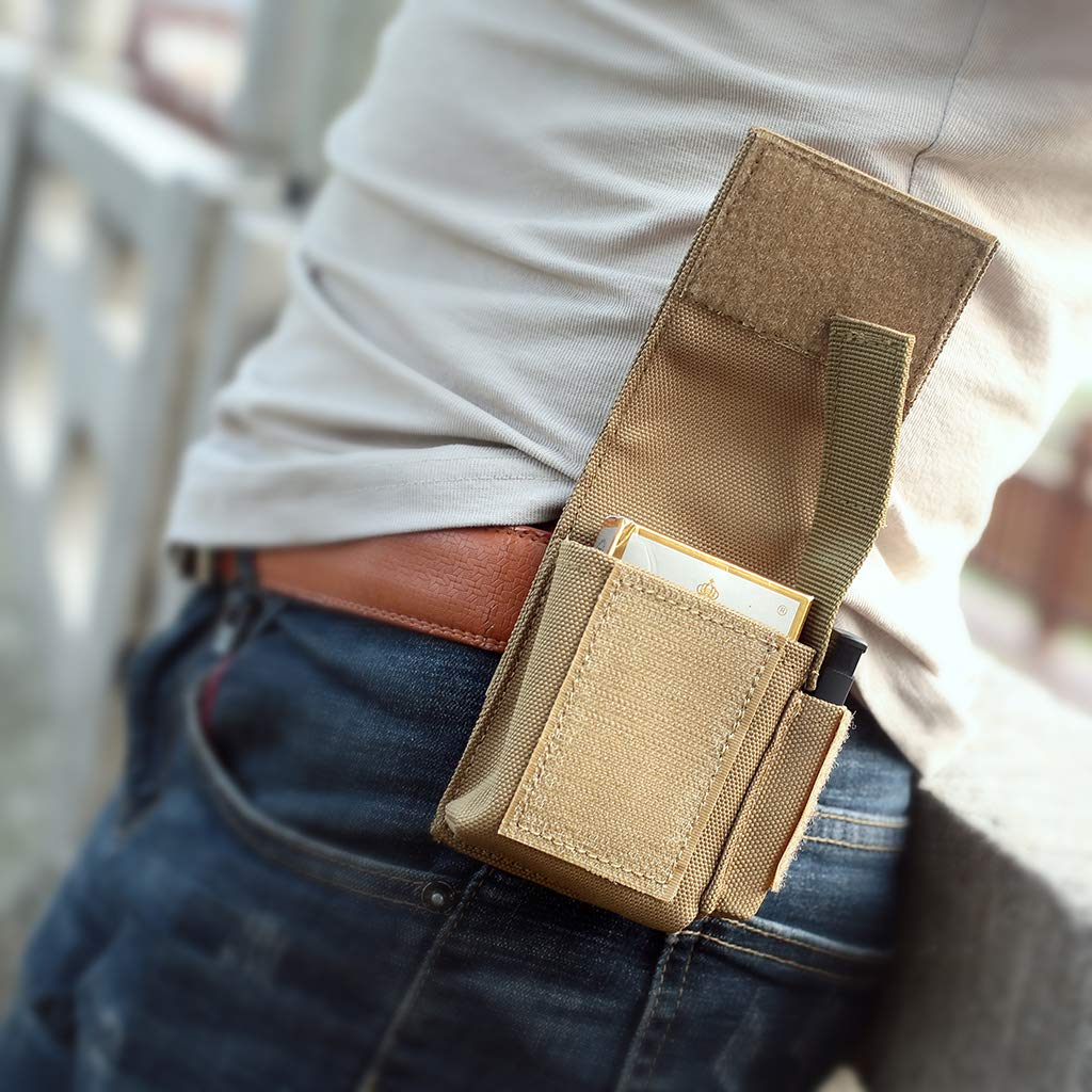 WYNEX Piccolo Sacchetto tattico Sacchetti per Sigarette Molle compatti Borsa per laccendisigari per Batteria edc Slot per Accendino Mini Pacchetto di Sigarette