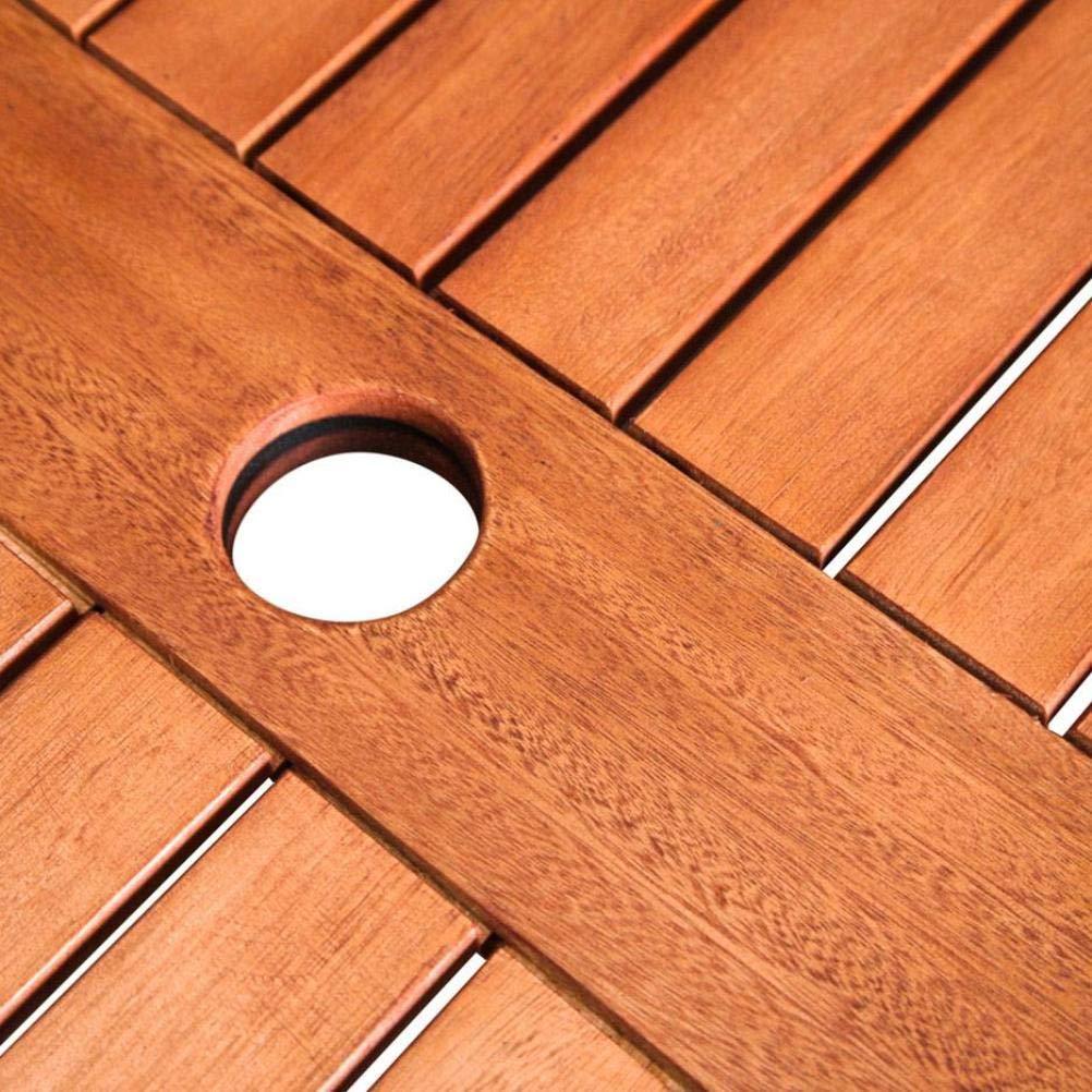VIFAH V1104 Ibiza Outdoor Wood Stacking Table, Natural Wood Finish, 35-1/2 by 35.4 by 29-1/2-Inch