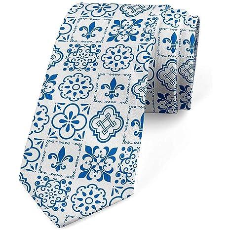 Corbata de Hombre, Flor de Lis en Azulejo, 8cm, Azul Noche y ...