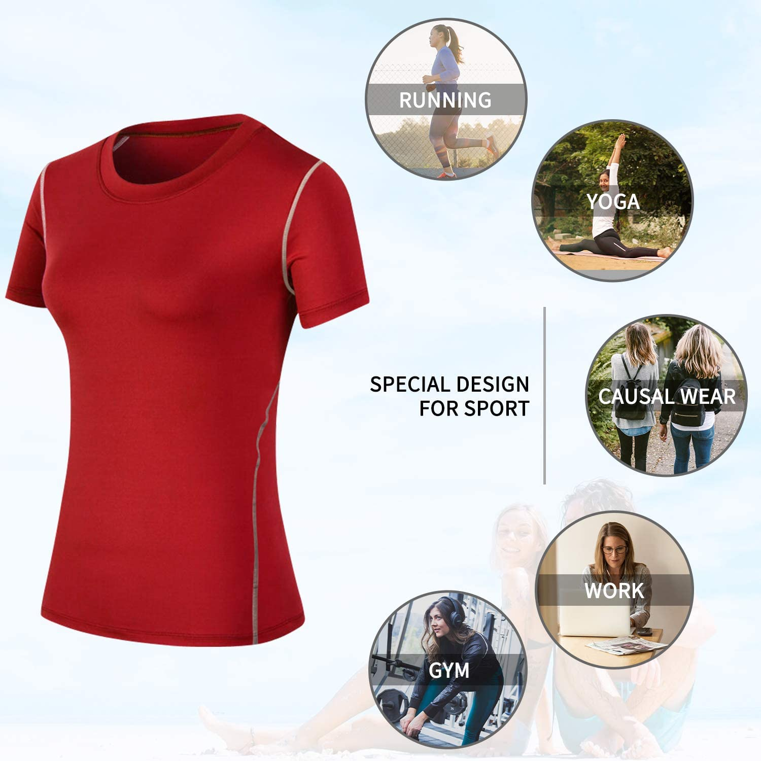 Athletic Short Sleeve T-Shirt Compression Tops Workout Shirts for Women Running