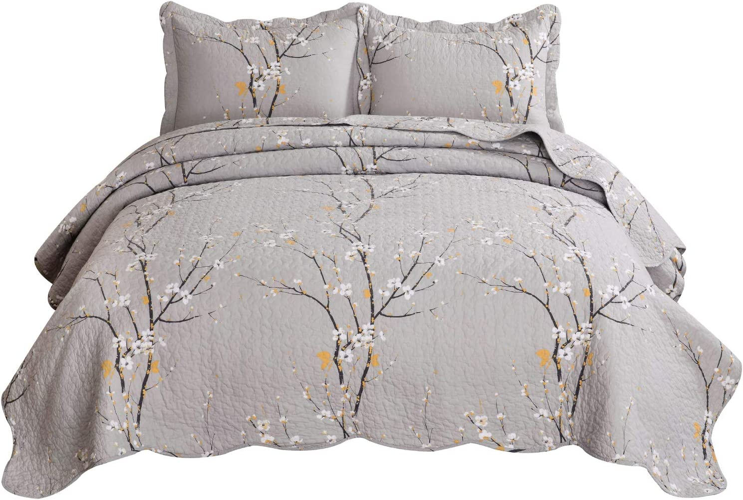 Bedsure 100% Cotton Printed Twin Quilt Set - Spring Blossom Floral Pattern, Pre-Washed, 2-Piece Quilt with 1 Sham - All-Season Bed Cover Machine Washable Bedspread Coverlet, Oyster Grey