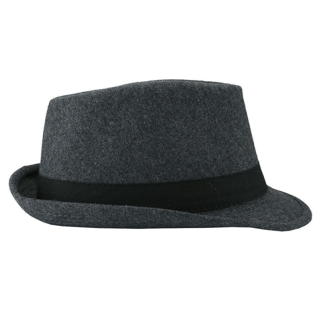Unisex Classic Manhattan Fedora Hat Black Band Fashion Casual Jazz Wool Cap (Grey) by Faleto (Image #3)
