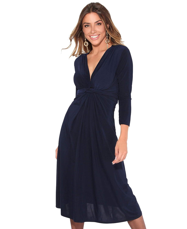TALLA 40. KRISP Chaqueta Mujer Fiesta Punto Encaje Blazer Elegante Cardigan Azul Marino (2705) 40