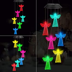 Solar Angel Wind Chime Waterproof Color Changing Solar Powered LED Mobile for Home Garden Outdoor Patio Party Night Hanging Decoration