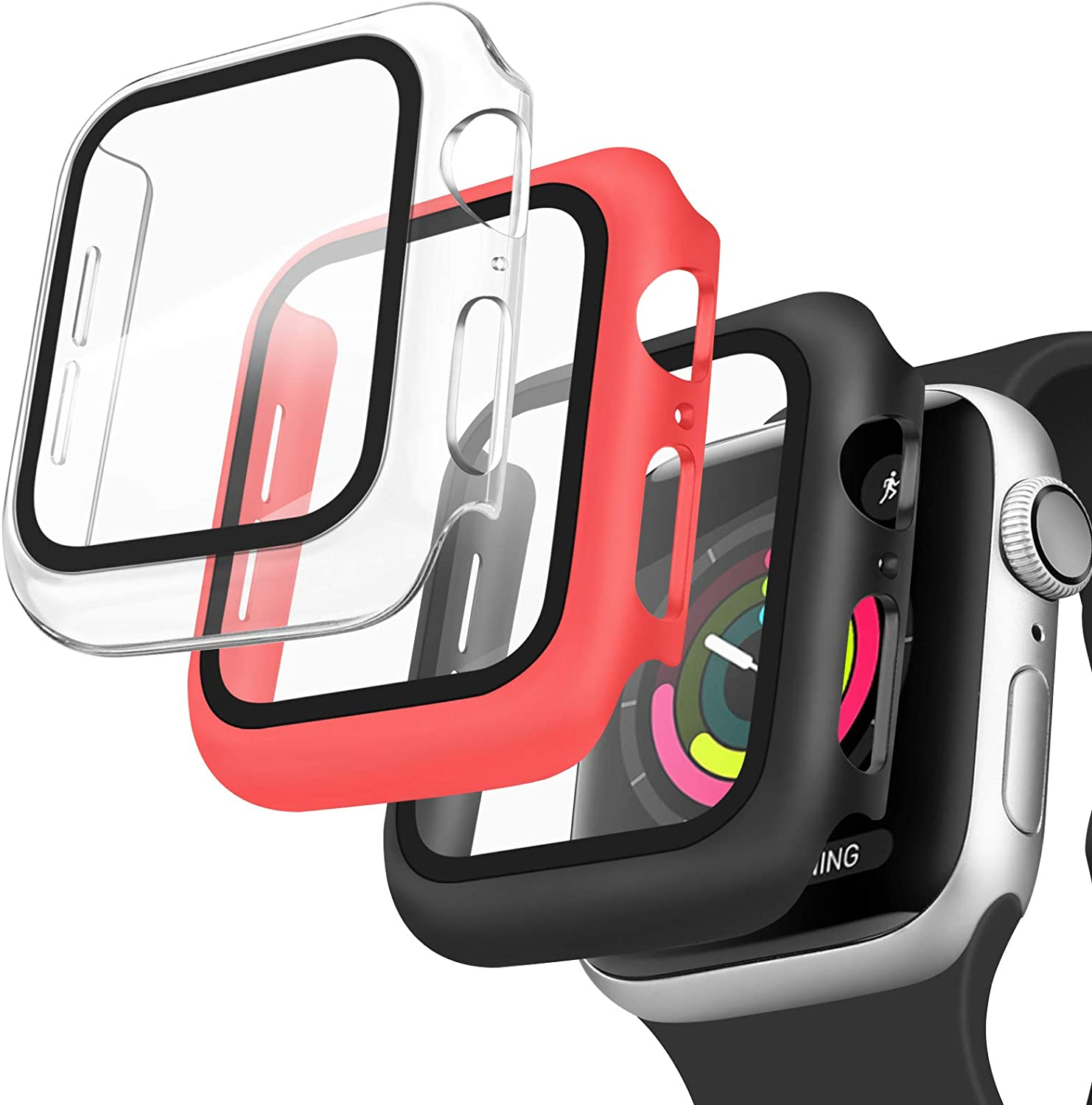 [3 Pack] Oumida 42mm 38mm Case Compatible with Apple Watch Series 3 2 1 for Women Men, iWatch Cases 42mm 38mm Hard Cover with Tempered Glass Screen Protector (Clear, Red, Black, 42mm)