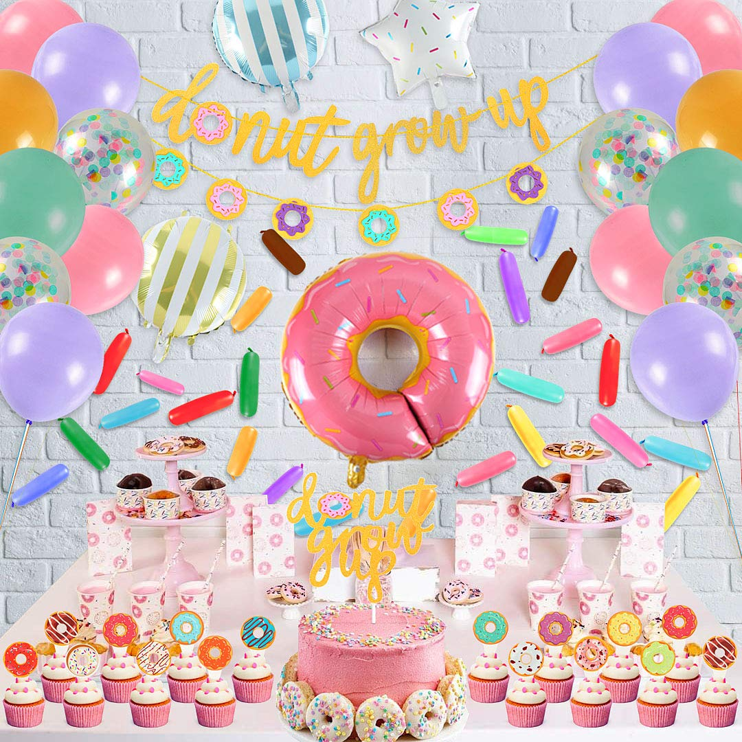 Donut Grow Up Banner and Swirls for Donut Birthday Party Decorations Mylar Foil and Latex Balloons Donut Birthday Party Decorations Kit