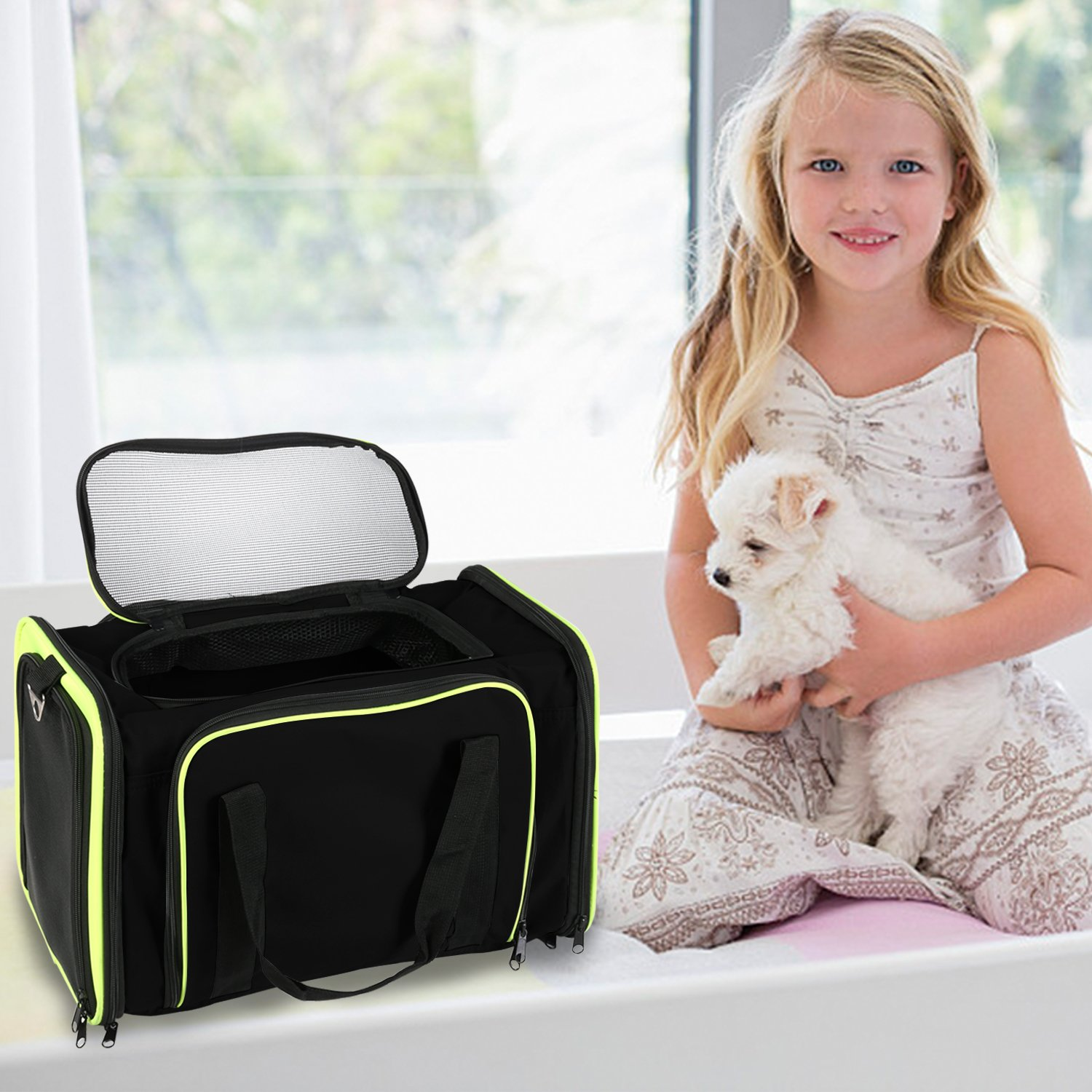 Jespet Expandable Airline Approved Pet Carrier with with Fleece Mat by, Foldable Soft Sided Travel Dog Carrier for Cats Kitten Puppy (16'' L x 9'' W x 9'' H, Black + Neon Green) by Jespet (Image #6)