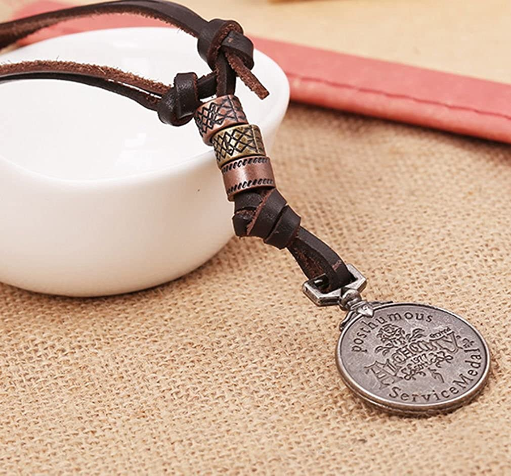 PopJ Vintage Skull Coin Pendant Adjustable Leather Necklace Chain Brown