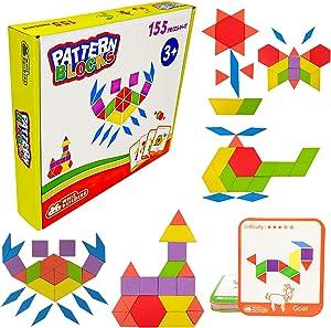 WhizBuilders Wooden Pattern Blocks Shape Puzzle Tangram Montessori Homeschool Kindergarten Toys – Learning Educational Stem Games Activities for Kids Toddlers Girls Boys Ages 3-5 4-8 , 155 Pcs