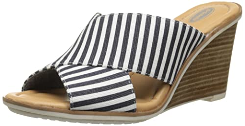 27fdb6d1c3ad Dr. Scholl s Women s Jada Wedge Sandal Navy Striped 6 B(M) US  Buy ...