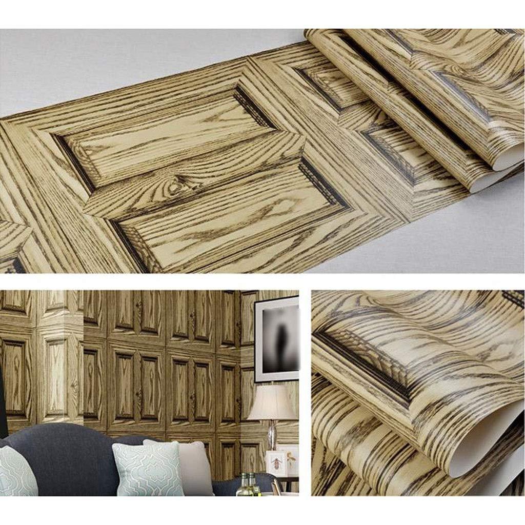 Color : A Papier Peint R/étro 3D Industriel Imitation Bois Grain Style Salon Bureau Bar Fond de PVC