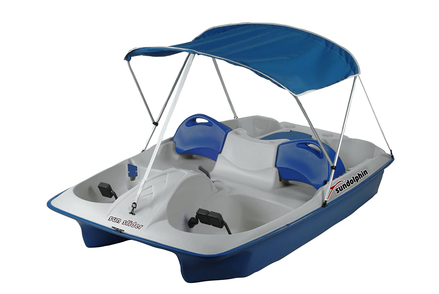 Sun Dolphin 72143 Adjustable Pedal Boat with Canopy, 5 Person