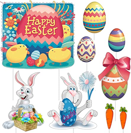 Amazon Com Easter Decorations Yard Signs Outdoor Lawn Decorations Plastic Easter Bunny Easter Eggs And Carrot Party Yard Signs With Stakes Multicolored Corrugated Signs For Easter Hunt Game Easter Props 9