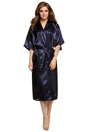 5c574500ddb94 Image Unavailable. Image not available for. Color  shivam agencies  Collection Micro Satin Navyblue Color Womens Night Dress Robe(01-Navy