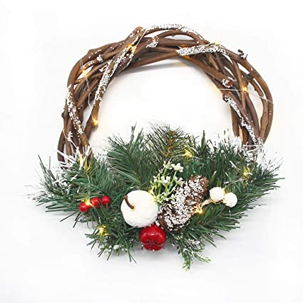 hometook christmas wreaths lights front door 10 inch grape vine artificial xmas pine wreath - Artificial Christmas Wreaths Decorated